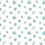 Blauw kleuren naadloos patroon met rozen Stock Afbeeldingen