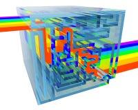 Blauw kristallabyrint met een binnen regenboog Stock Afbeelding