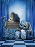 Blauw landschap met konijntjes Royalty-vrije Stock Afbeelding