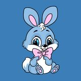 Blauw leuk de zittingsbeeldverhaal van het babykonijn Royalty-vrije Stock Fotografie