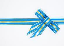 Blauw lint met boog Royalty-vrije Stock Foto's
