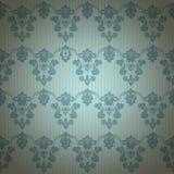 Blauw luxe sier bloemenbehang Stock Foto