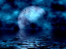 Blauw Maan & Water Royalty-vrije Stock Foto