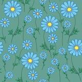 Blauw madeliefje op een groene achtergrond royalty-vrije illustratie