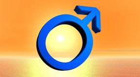 Blauw mannelijk symbool vector illustratie
