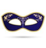 Blauw masker met gouden vlecht royalty-vrije illustratie