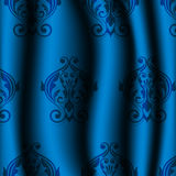 Blauw materiaal met uitstekend patroon Stock Foto
