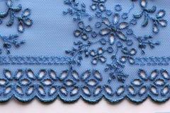 Blauw materieel de textuur macroschot van het bloemenkant Stock Foto