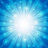Blauw met velen witte sneeuwvlok voor abstract ontwerpconcept is gebarsten dat als achtergrond vector illustratie