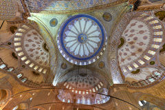 Blauw Moskeebinnenland - Istanboel, Turkije Stock Afbeeldingen