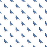 Blauw naadloos duifpatroon stock illustratie