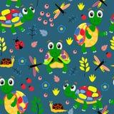 Blauw naadloos patroon met kleurrijke schildpadden - vectorillustratie, eps stock illustratie