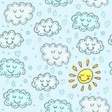 Blauw naadloos patroon met leuke wolken en zon Glanzende kinderen Stock Fotografie