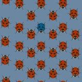 Blauw naadloos patroon met lieveheersbeestjes Vector illustratie vector illustratie