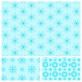 Blauw naadloos patroon met sneeuwvlokken Stock Foto