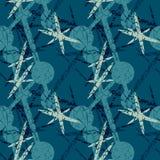 Blauw naadloos patroon met verbonden cirkels en streepjes Royalty-vrije Stock Foto