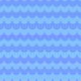 Blauw Naadloos Patroon met Watergolven Stock Foto