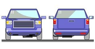 Blauw neem vrachtwagen vooraanzicht op Stock Afbeeldingen