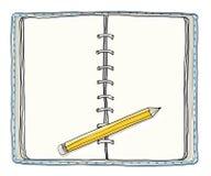 Blauw notitieboekje en Gele getrokken potlood uitstekende leuke hand Royalty-vrije Stock Foto's