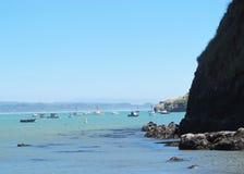 Blauw Oceaan, Zeewier en Rocky Cliffs in Baai met Vissersboten stock foto