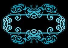 Blauw op Zwarte Spiraalvormige Frame of Grens Royalty-vrije Stock Foto