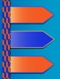 Blauw-oranje modern presentatiemalplaatje met drie tekstvakjes Stock Foto's