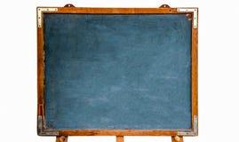 Blauw oud grungy uitstekend houten leeg bord of retro bord met doorstaan die kader en tribune op witte achtergrond wordt geïsolee stock foto's