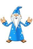 Blauw Oud Tovenaarskarakter Stock Afbeelding