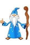 Blauw Oud Tovenaarskarakter Stock Fotografie