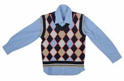 Blauw overhemd en geruit vest stock foto's