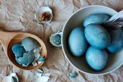 Blauw paaseierenstilleven Royalty-vrije Stock Foto's