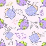 Blauw pastelkleur naadloos patroon met theepotten en bladelementen Royalty-vrije Stock Afbeeldingen