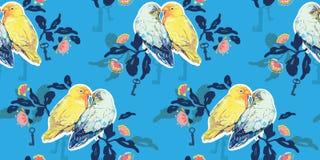 Blauw patroon met liefdevogels royalty-vrije illustratie