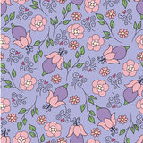 Blauw patroon met roze bloemen Stock Afbeelding