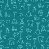 Blauw patroon met speelgoed Stock Afbeeldingen