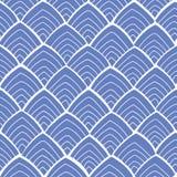 Blauw patroon met wit ornament royalty-vrije illustratie