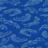 Blauw patroon met witte wolken royalty-vrije illustratie