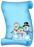 Blauw perkament met sneeuwmanfamilie Royalty-vrije Stock Afbeelding