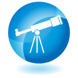 Blauw Pictogram - Telescoop Stock Foto