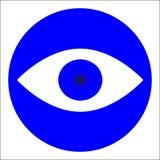 Blauw pictogram van oog in een cirkel Stock Foto's
