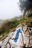 Blauw pijl wandeling en trekking symbool Royalty-vrije Stock Afbeeldingen