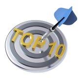 Blauw pijltje op het doel met HOOGSTE teksten 10 op het stock illustratie