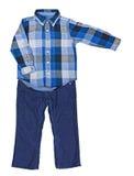 Blauw plaidoverhemd met een lange koker en blauwe katoenfluweelbroeken Royalty-vrije Stock Afbeelding
