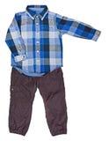 Blauw plaidoverhemd met een lange koker en broeken Royalty-vrije Stock Foto's
