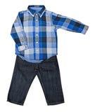 Blauw plaidoverhemd met een lange koker en jeans Stock Foto