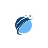 Blauw planeet vectorembleem Stock Fotografie