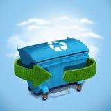 Blauw plastic afval de ecologieconcept van de recyclingscontainer Stock Foto's
