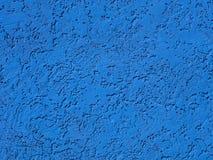 Blauw pleister op muur, plasterwork, zandtextuur Stock Foto's