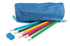 Blauw potloodgeval stock afbeelding