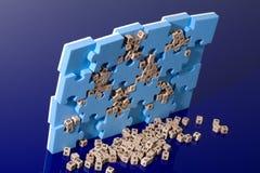 Blauw raadsel met houten brief Royalty-vrije Stock Afbeeldingen